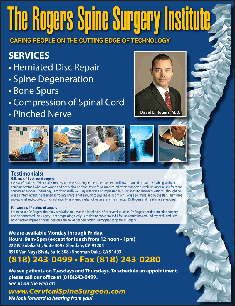 ROGERS SPINE SURGERY INSTITUTE - DAVID E. ROGERS, MD
