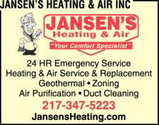 Jansen's Heating & Air Inc