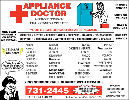 Appliance Doctor, A Service Company